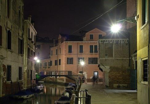 Venice, Minor Venice, Veneto, Nocturne, Bridge, Channel