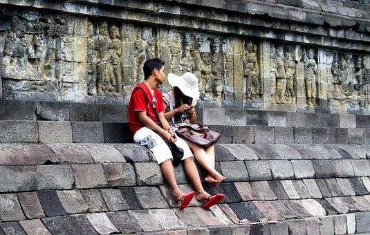 Couple, Boy, Girl, Sitting, Resting, Persons, Java