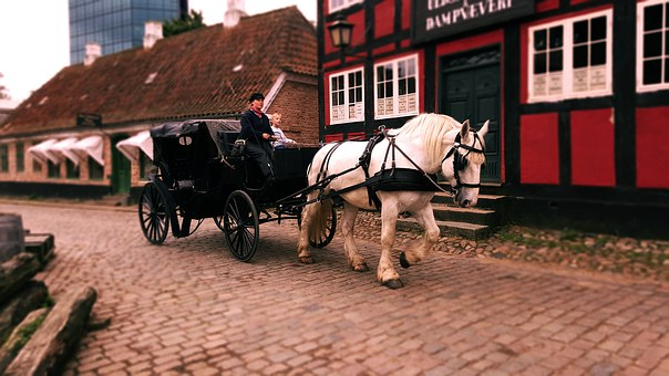 Carriage, Horse Carridge, Old Town, Denmark, Beautiful