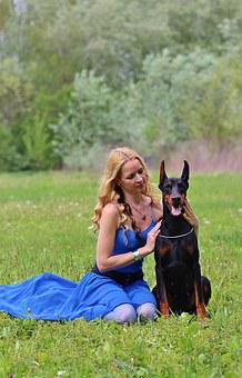 Doberman, Woman And Dog, Field, Naturally, Blonde Woman