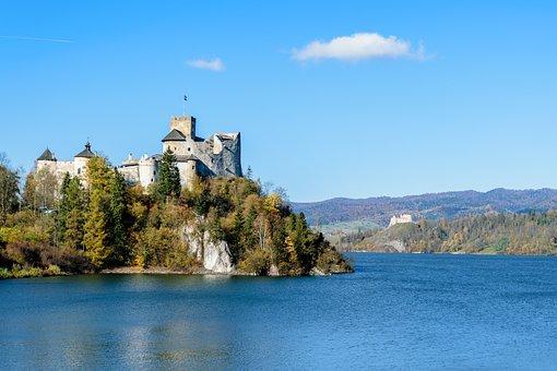 Old Castle, Lake, Mountains, Landscape, The Sun, Europe