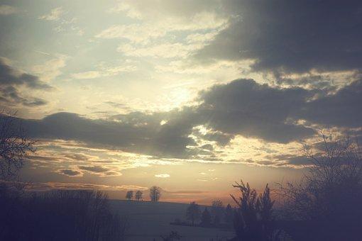 Sky, Sunset, Sun, Clouds, Abendstimmung, Evening Sky