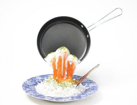 Frying Pan, Egg, Soft Boiled Egg, Food, White Back