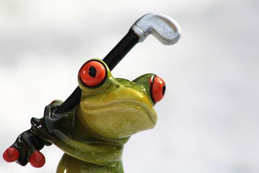 Frog, Golf, Golf Clubs, Green Frog, Funny, Cute, Sporty