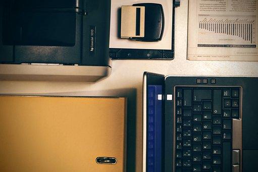 Laptop, Printer, Office, Folder, Graph, Newspaper
