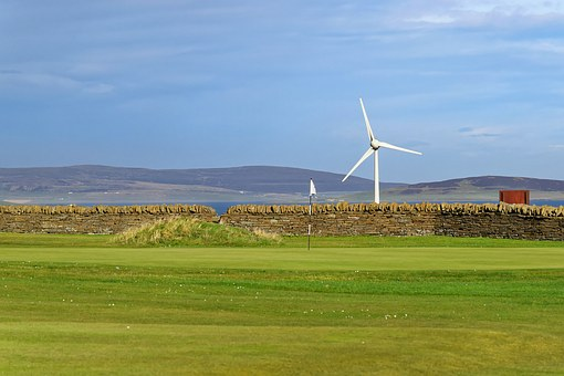 Golf, Golf Course, Green, Flag, Wind Turbine, Wall