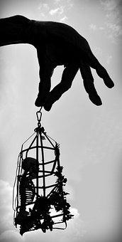 Hand, Skeleton, Starved To Death, Hunger Basket, Finger