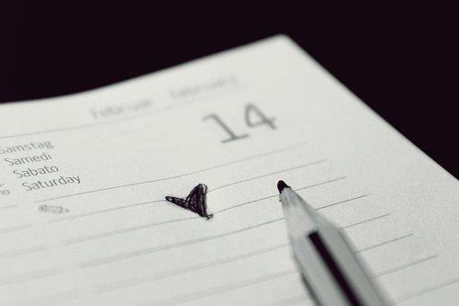 Calendar, Valentine's Day, Heart, Note, Love, Fourteen