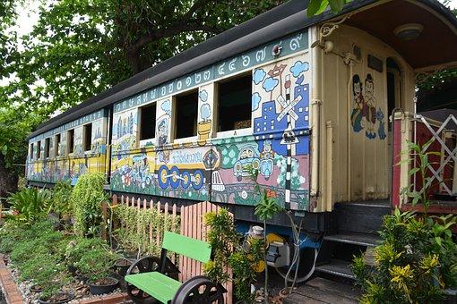Train, Carriage, Garden, Home, Railway, Travel