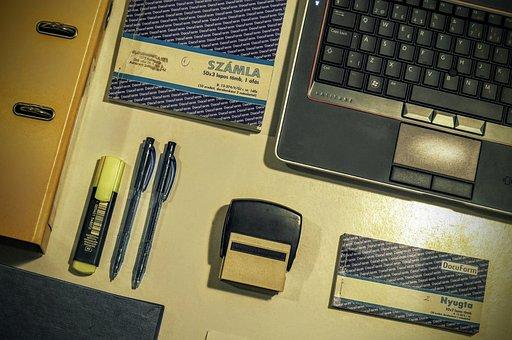 Rubber Stamp, Laptop, Keyboard, Invoice, Folder, Pen