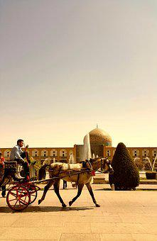 Iran, Isfahan, Carriage, Mosque, Tree, Horse, Warm