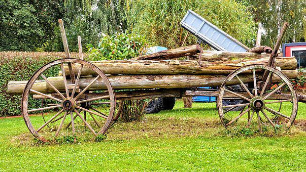 Wagon, Signal Box, Wood Wagon, Spoke Wheels, Old