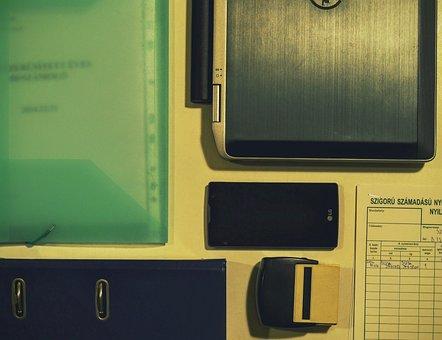 Office, Laptop, Smartphone, Folder, Paperwork