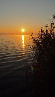 Orange Sky, Dawn, Fog, Reflection, Sunset, Sunrise