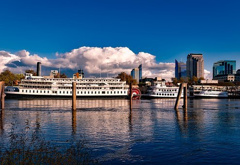 Sacramento, California, City, Steamboat, Riverboat