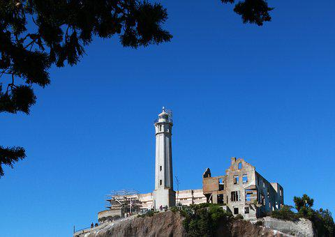 Alcatraz, Lighthouse, Wardens House, Ruins, Island