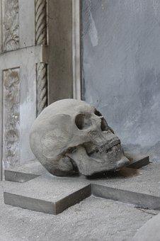 Skull, Sculpture, Stone, Cemetery, Mortal, Fig, Statue