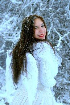 Girl, Snow, Angel, Princess, Story, White, Portrait