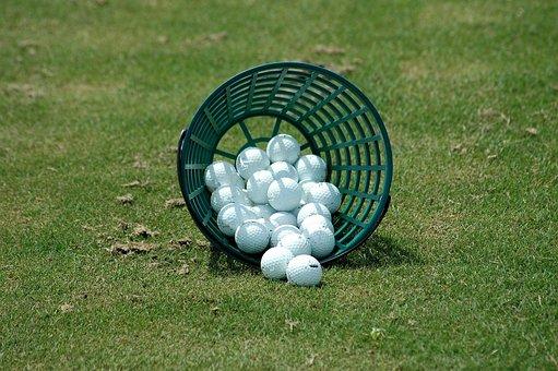 Golf Balls, Driving Range, Basket, Sport, Golf, Leisure