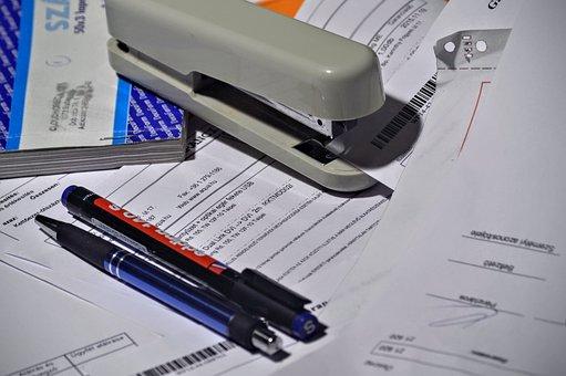 Stapler, Pen, Paperwork, Invoice, Invoice Book, Paper