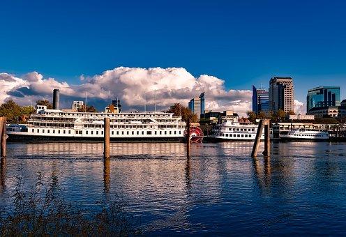 Sacramento, California, City, Steamboat, Riverboat