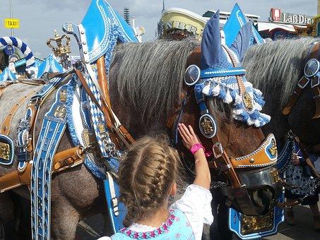 Beer Car, Team, Horse, Oktoberfest, Wagon, Transport