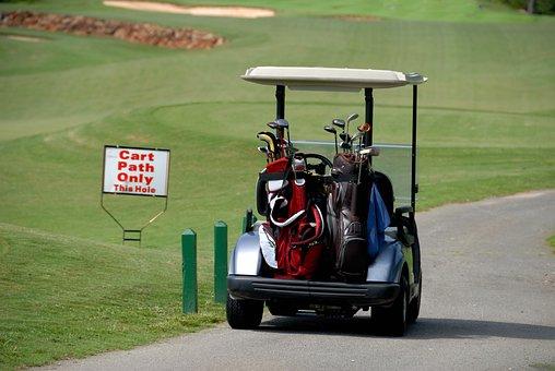 Golf Cart, Transportation, Golf Bags, Clubs, Sign