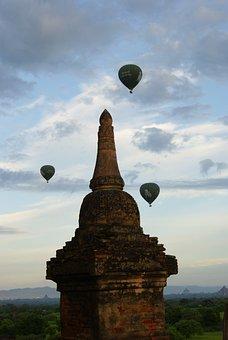 Temple, Balloon, Travel, Asia, Pagoda, Myanmar, Ancient