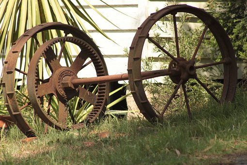 Wheels, Vintage, Old, Carriage, Rusty, Metal, Garden