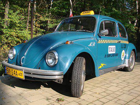 Blue, Vw, The Beetle, Beetle, Taxi, Car, Retro