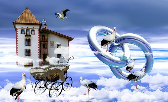 Wedding, Children, Young, Stork, Sky, Castle
