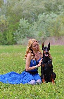 Doberman, Woman And Dog, Field, Naturally, Blonde Woman