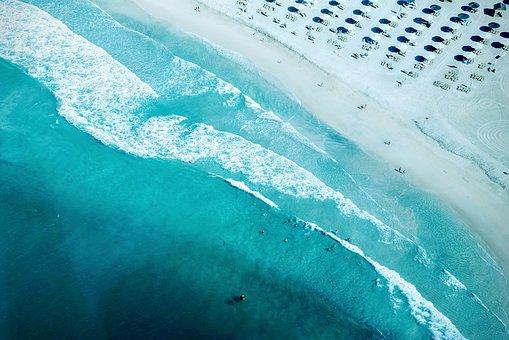 Aqua, Coastlien, Aerial View, Sea Foam, Shoreline