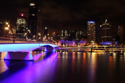 Brisbane, Night, Brisbane River, Victoria Bridge