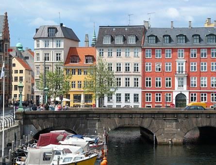 Copenhagen, Denmark, Old, Houses, Canal, Water, Day