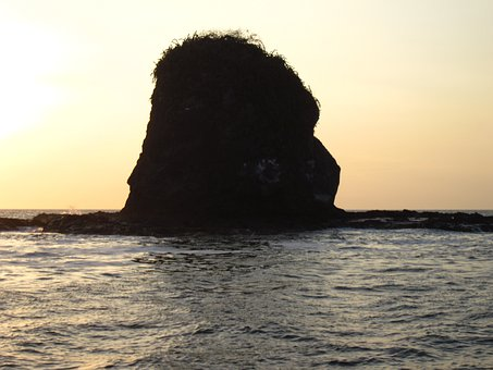 Island, Tall, Deserted, Rocky, Silhouette, Sea