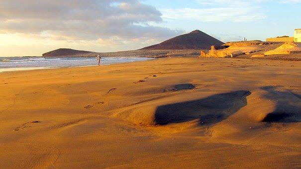 Tenerife, Morgenstimmung, El Medano, Desert, Sand Beach