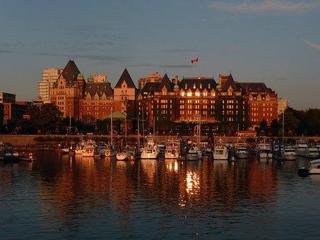 Victoria, Harbor, Empress Hotel, Evening, Sunset, Water