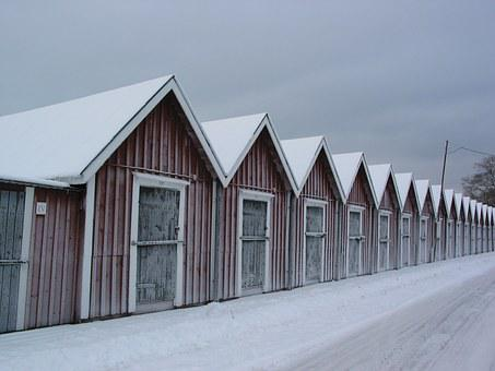 Winter, Lake, Fischer, Hut, Cold, Bank, Frozen, Sweden