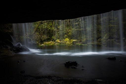 Waterfall, Japan, Fresh Green, Kumamoto, Summer, Wide