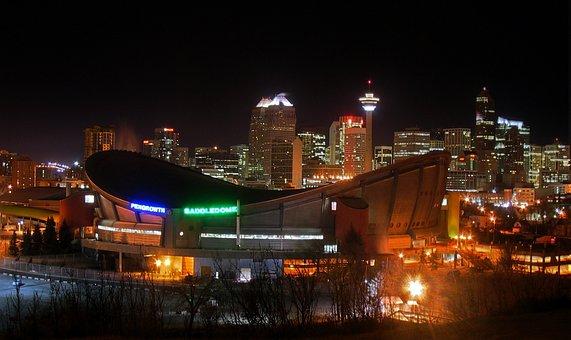 Calgary, Canada, Saddle Dome, Night, Downtown, City