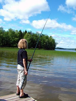 Child, Fish, Hook And Line, Pier, Water, Reed, Tree