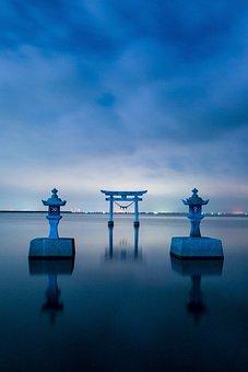 Japan, Kumamoto, Shrine, Sunset, Sea, Nagao Shrine