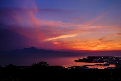 Sunset, Japan, Kumamoto, Ariake Sea, Light, Cloud, Sea