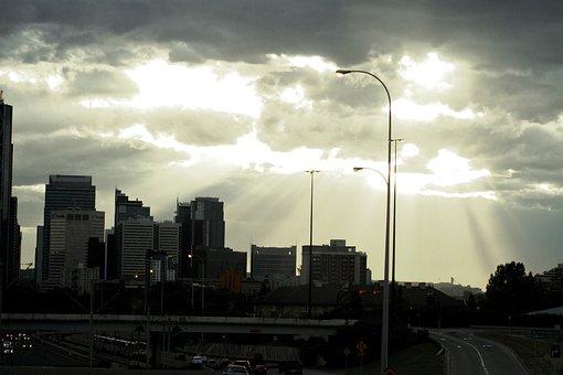 Calgary, Sunset, Downtown, Alberta, Canada, Skyline