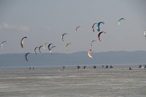 Sport, Snowkite, Kite, Kitesurfing, Ice, Lagoon, Fun
