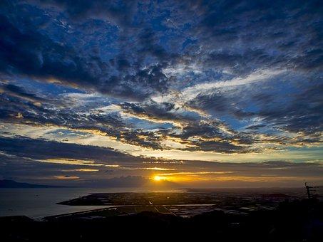 Japan, Kumamoto, Kawachi, Sunset, Ariake Sea