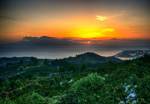 Japan, Kumamoto City, Kawachi, Sunset, Hdr, Sea