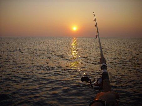 Fishing, Fishing Rod, Sunset, Ocean, Sea, Lake, Outdoor