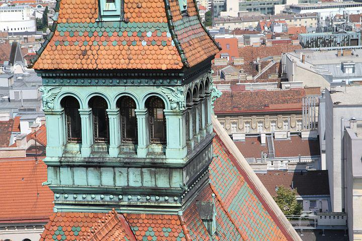 Tower, Church, Vienna, City, Canisius, Old, Colorful